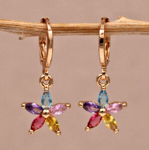 18K Gold Filled - Hollow Water Drop Shape Gemstone Flower Lady Dangle Earrings