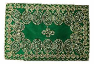 "Puja Pooja Assan Devi Mata Velvet Cover Mat Sitting Cloth God Goddess 9"" x 7"""