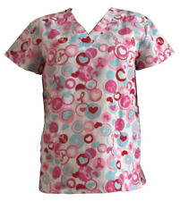 Women's Fashion Medical Nursing Scrub Tops Ribbon Heart In Loop S