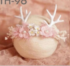 Baby Infant Girl Deer Reindeer Pink Christmas hair band Headband Photograph prop