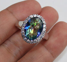 18K White Gold Filled- 10*12MM Oval MYSTICAL Topaz Cocktail Ring Size 6/7/8/9/10