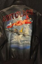 "Custom painted A2 Cooper leather Bomber Jacket - ""A Bit 'O' Lace Artwork/patches"