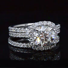 Lovely 2.68 Ct Round Cut Halo Diamond Engagement Ring w/ 2 Bands G,VS2 GIA 14K