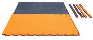 Puzzlematte Checker 1x1m x 2cm. grau/orange.Matte. Karate,Ju Jutsu,Kickboxen,MMA