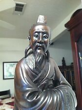 Superbly carved Chinese Confucius wood statue.