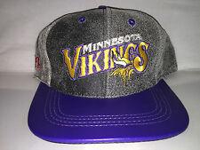 Vtg Minnesota Vikings Leather Snapback hat cap rare 90s nwot distressed NFL og