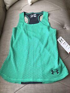 New Under Armour Girls Green Grey Mesh Tank Top Shirt Workout Gear Wear YSM 9-10