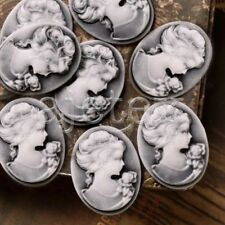 8pcs Résine Flatback Camée Lady Portrait 26x20x5mm Blanc et Gris BPRB0677