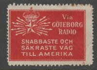 Sweden America Telegraph Label seal Cinderella  stamp 7-9- scarce item - no gum