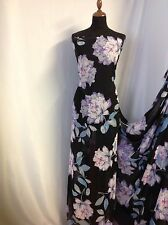 NEW Designer Multicolour Large Camelia Floral Chiffon Print Fabric Dress Craft