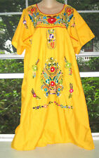 """Hand Embroidered Floral Mexican Hippie BoHo Oaxacan Dress Plus Size 2X ~54""""Bust"""