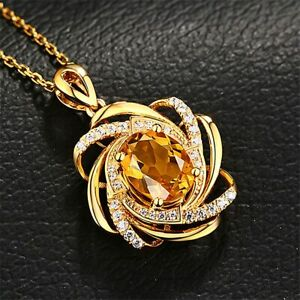 "3 carat Yellow Citrine & Diamond Pendant Chain 18"" Necklace 18K Yellow Gold Over"