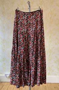 FAT FACE floral print tiered panel long maxi skirt UK 8 orange, brown & white