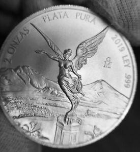 2019 Mexico 2 oz Libertad Silver Coin BU (In Capsule)