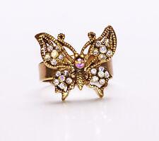 Oro Anillo de metal con un soporte, Piedras Preciosas Decoradas Boho Mariposa (zx44)