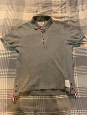 Thom Browne Grey Polo Shirt, Medium, Size 3, Made in Japan