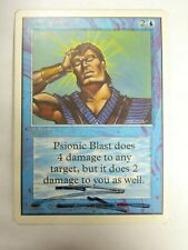 Vintage MTG Unlimited Signed Psionic Blast Blue Card Lightly Played Condition