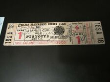 1960 Stanley Cup Playoffs Canadians Blackhawks Full Ticket Signed Hull Beliveau+