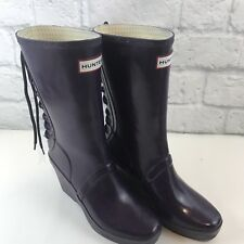 Hunter Rainboots Verbier Purple Lace Back Wedge Heels Mid Calf Boots 7