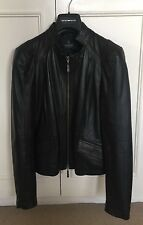 Exquisite Madeleine Mode Ladies Black Leather Tailored Jacket nappa lamb Size 10