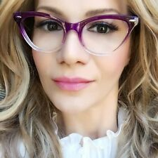 Sexy PinUp Cat Eye Purple Clear Gradient Vintage Design Eyeglasses Frames 1404 S