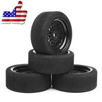 1 Set 4Pcs 12mm Hex Foam Tires Wheel Rims For HSP HPI 1/10 RC On-road Racing Car