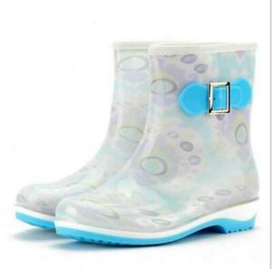 Women's Waterproof Short Rubber Casual Shoes Mid Calf Rain Boots Anti-Skid Ankle