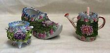 Victorian Flower Encrusted Shoe, Watering Can & Urn