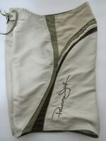 Men's Panama Jack Brown Green Swim Trunks Board Shorts Drawstrings Size 32