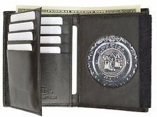 Mens Leather Wallet Badge Sheriff Officer Police Shield Fire Security ID Holder