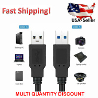 USB 3.0 Cable Male to Male USB to USB Cable SuperSpeed Black - 3 Feet