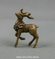 "2"" Collection Curio Chinese Fengshui Bronze Lovable Animal Deer Small Statue 鹿"