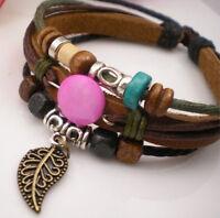 Bracelet femme réglable Cuir nacre feuille métal doré marron vert rose bleu noir