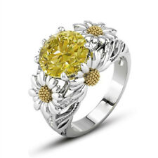 Two Tone Round Cut Citrine Sapphire Daisy Promise Ring 925 Silver Women Jewelry