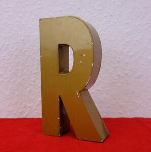 Metallbuchstabe R Industrie Buchstabe Loft Reklame Letter Patina Gold 50er 60er