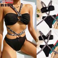 US Sexy Womens Leopard Padded Push Up Bra Bikini Set Swimwear Beach Bathing Suit