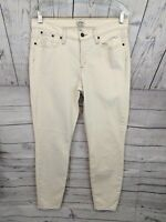 J CREW Women's TOOTHPICK Mid Rise Skinny Off-white Stretch Denim Jeans - 31 x 27