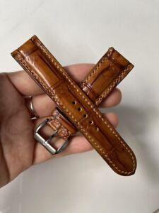 20mm-Padded-Brown -ALLIGATOR-CROCODILE-SKIN-WATCH-STRAP-BAND