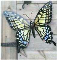 Large Yellow Metal Butterfly Garden Ornament Wall Art Decoration Factory Seconds