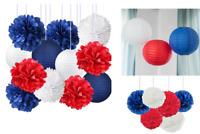 Pom-Pom Paper Flowers Lanterns Patriotic Party 4th of July Decoration 12 Pcs Set