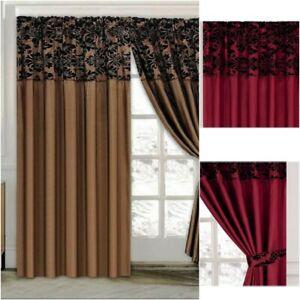 Eyelet Ringtop Flock Damask Curtains Inc 2 Tie Backs 66x72 90x90