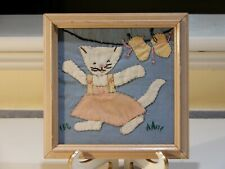 Vintage Handstitched and Pieced Sampler of Kitten and Mittens