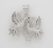 925 Sterling Silver CZ Large Chicken Charm Pendant