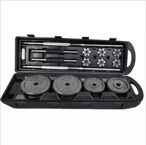 50kg Adjustable Dumbbell andBarbell Set Cast Iron Plates Home Gym Weights