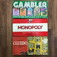 Monopoly, Cluedo, Gambler Vintage Retro Board Games x3