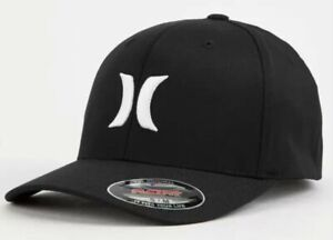 Hurley Men's Dri-FIT One and Only Flex Fit Hat Cap Black White Small - Medium
