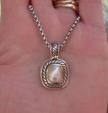 David Yurman Mabe Pearl Albion Enhancer Pendant/Necklace - 14K/925 - Gift Box