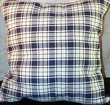 Home Decor' Pillow 13 inch Sq Plaid Navy White NEW