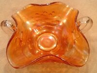 Fenton Marigold Carnival Glass Waterlily and Cattails Bonbon Bowl - Vintage