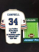 Houston Oilers Earl Campbell lapel pin-Classic Collectable-Luv Ya Blue-JUMBO!